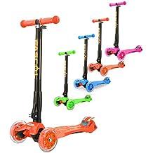 Fascol® Patinete de 3 ruedas con diseño scooter para niños de 2-15 años de edad + rodillera Naranja