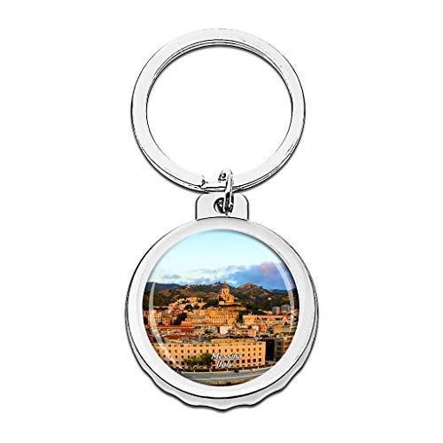 Hqiyaols Keychain Italien-Glockenturm und astronomische Uhr Messina Cap Flaschenöffner Schlüsselbund Creative Kristall Rostfreier Stahl Schlüsselbund Reisen Andenken