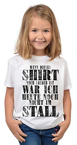 Kinder Reit-bekleidung (Reiterinnen Sprüche Kinder-Shirt - Pferde Motiv Mädchen-Shirt : Shirt noch sauber noch Nicht im Stall - Kinder Pferde Tshirt - Reiterinnen Shirt Gr: L = 146-152)