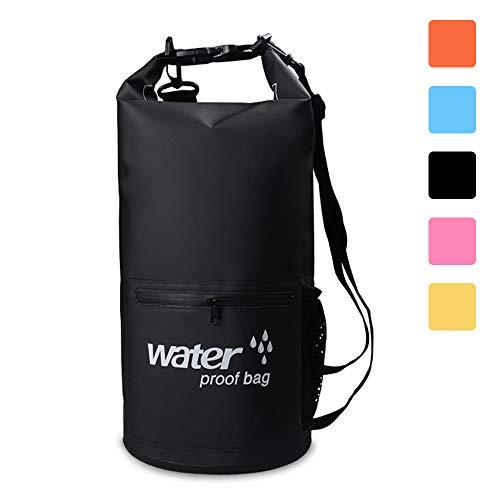 Dry Bag, 10L/20LLeicht Wasserdichte Packsäcke,Wasserdichte Tasche/Trockensack mit 2 Außentasche mit Reißverschluss und lang Verstellbarer Schultergurt für Boot und Kajak Wassersport (black, 20L)