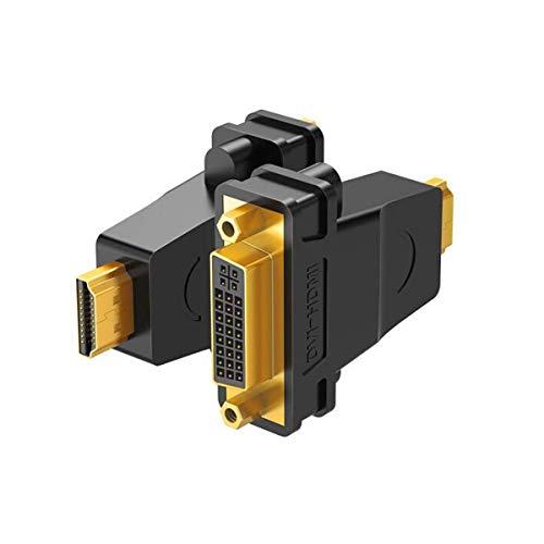AYCYNI HDMI zu DVI, HDMI-Stecker zu DVI-Buchse Adapter HDMI-Kabel zu DVI24 + 5 / DVI-I HD-Konverterkopf Laptop Grafikkarten-Verbindungsmonitor (Farbe: Schwarz) -