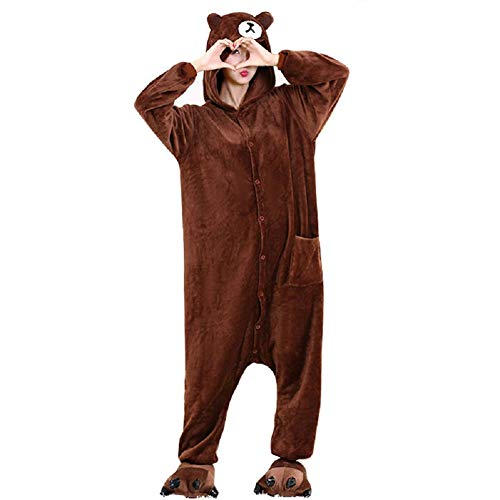 Lazutom Tier Cosplay Kostüme Onesies Pyjama Halloween Party Unisex-Adult Onepiece Nachtwäsche Weihnachten (S: Height from 146cm- 159cm, Brown Bear) (Brown Bear Pyjama Kostüm)