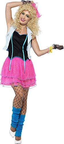 Smiffys 44447S - Damen 80er Jahre Wildes Mädchen Kostüm, Größe: 36-38, rosa