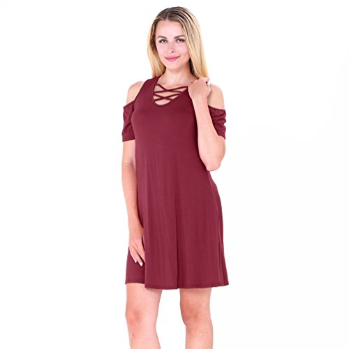 NiSeng Damen V-Ausschnitt Kurze Ärmel T-Shirt Kleid Sommer Casual Loose Mini Kleid Weinrot