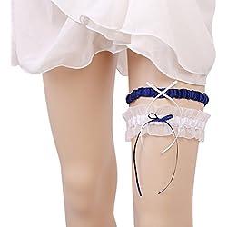 Liga de novia en blanco y cinta en azul oscuro