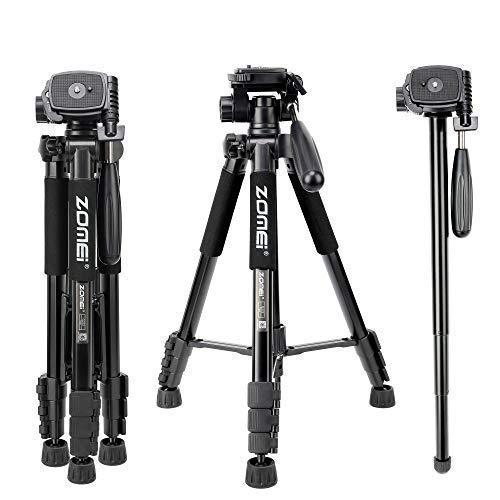 """Trepied Appareil Photo, ZOMEi Q222 160cm Trépied Professionnel en Aluminium avec 1/4"""" Rapide Relaxe Plat +Sac de Transport, pour Canon Nikon Sony DSLR Caméra Smartphone (Noir)"""