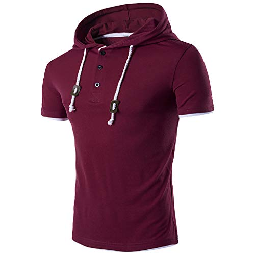 huge discount 7ec84 00595 iHAZA Hoodie Mens Short Sleeve T Shirt Hooded Button Tops Blouse Tracksuits