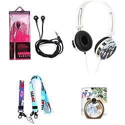 Yovvin KPOP BTS Bangtan Boys, Écouteurs de 2 Styles + Bandeau de Téléphone Portable de 2 Tailles + BTS Anneau de Téléphone Mobile Buckler, Meilleur Cadeau pour A.R.M.Y