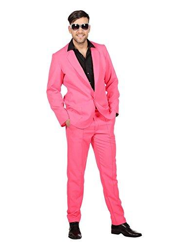 Wilbers 80er Jahre Kostüm Disco Discoanzug Anzug Herrenkostüm Karneval Fasching Pink Pink 56