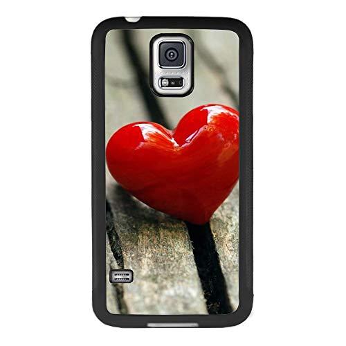 (Sugar Skull Day of Dead Schutzhülle für Samsung Galaxy S5, stoßfest, weiches TPU-Kunststoff, Premium-Schutz, individuelles Design, Bumper für Samsung Galaxy S5, Schwarz, Red Heart Candy)