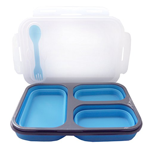 Silicone Lunch Box Collapsible Eco Friendly Food Preservative 3 Compartment Rectangular Blue Colour Cutlery for Kids and Adults- Leakproof Microwave Freezer and Dishwash Safe