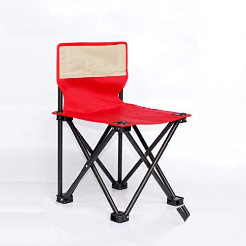 DEI QI Chaise Pliante extérieure, Tabouret de Dossier Portable, Chaise de Plage, Tabouret de Contraction Art Sketching, Chaise de Pique-Nique, Tissu Oxford épaissi (Couleur : Rouge, Size : M)