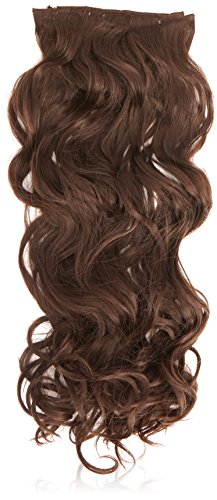 Hair By Misstresses Dark Java Brown 18-inch Curly Human Hair and Synthetic Fibre Blend Clip in Hair Extensions Pack of 10 Wefts