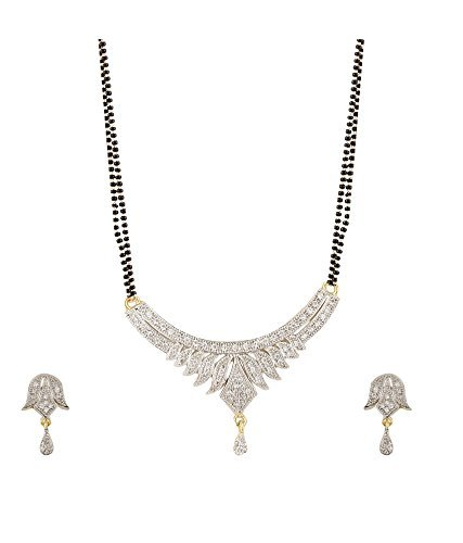 YouBella American Diamond Gold Plated Mangalsutra Pendant with Chain and Earrings for Women