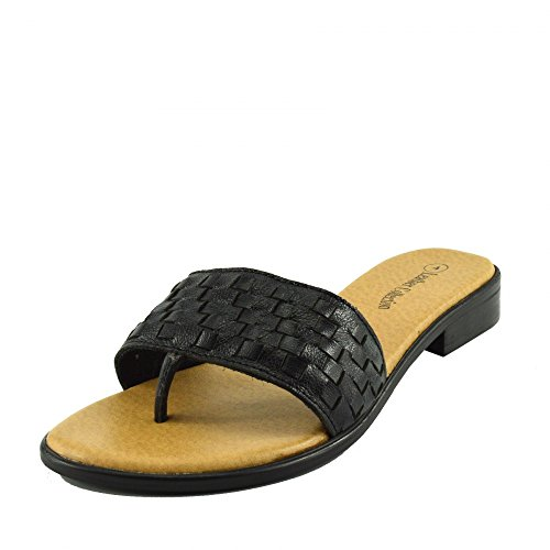 Kick Footwear - Donna Moda Estate Spiaggia Infradito Sandali Scarpe Di Cuoio Naturale Nero F931