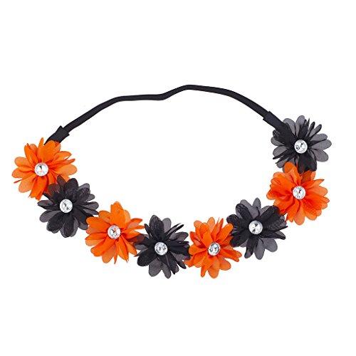 LUX Zubehör Schwarz N orange Halloween-Kostüm Chiffon Blume Krone ()