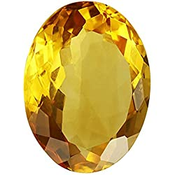 Gemorio Natural Citrine Sunehla 3.25 to 3.5 RATTI Certified Astrological Loose Gemstone As Shown in Image