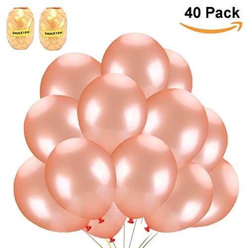 BIEE Fayoo Echte Rose Gold 12 Zoll Party Ballon Set 40 Stück Elegante Latex Party Ballons für Hochzeiten, Party Dekoration, Geburtstage, Bridal Shower, Valentinstag, Abschluss von (40pcs + 2)