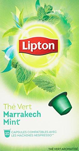 Lipton Thé Vert Marrakech Mint 10 Capsules 25g Compatibles Nespresso