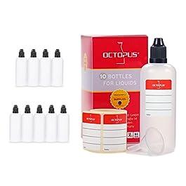 Octopus Bottigliette per liquidi 100 ml con Imbuto + Etichette, ad Esempio per liquidi per Sigarette elettroniche…