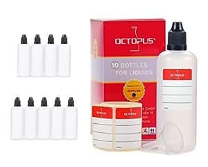 Bottigliette per liquidi 100 ml con imbuto + etichette, ad esempio per liquidi per sigarette elettroniche, dispenser a gocce + tappo scuro con sistema di sicurezza per bambini