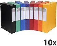 Exacompta - Réf. 19500H - Lot de 10 boites de classement livrées àplat - carte lustrée - Dos 5 cm - format A4