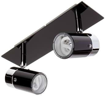 paulmann plafonnier m talliques zyli esl avec 2 ampoules gu10 9 w 230 v noir chrom. Black Bedroom Furniture Sets. Home Design Ideas