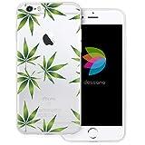 dessana Cannabis Weed Transparente Silikon TPU Schutzhülle 0,7mm dünne Handy Tasche Soft Case für Apple iPhone 6/6S Plus Cannabis Muster
