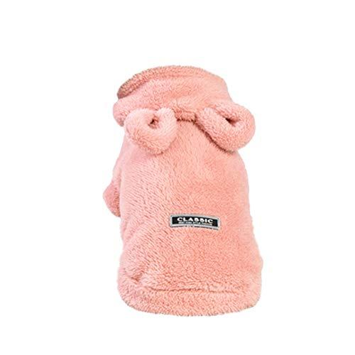 nter Hoodie mit Bärenohren Weihnachten Custome Kleidung für Hunde Welpen Katzen (Pink, L) ()