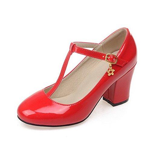 VogueZone009 Damen Rein Hoher Absatz Schnalle Rund Zehe Pumps Schuhe Rot