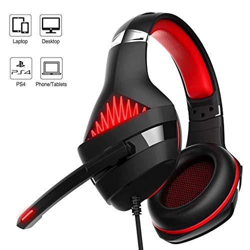 Yowablo Gaming Headset 3,5 mm Spiel Stereo Surround USB Mic LED Kopfhörer für PC Laptop(rot)