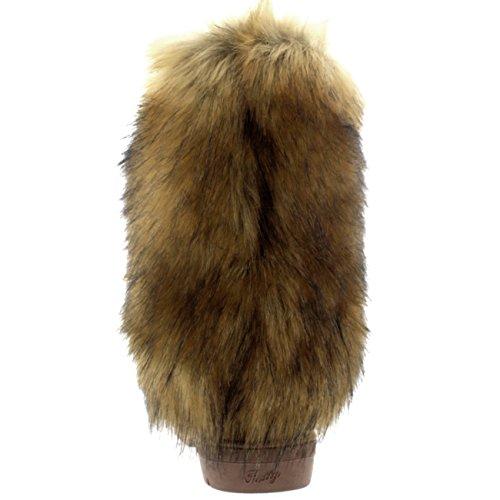Donna Alto Rabbit Pelliccia CoveRosso La Neve Pioggia Impermeabile Yeti Eschimese Inverno Stivali Marrone chiaro