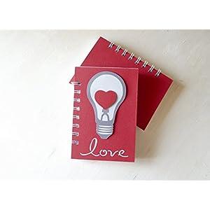 Love - Zwiebel - Herz - Notizbuch (Größe 14 x 9,5 cm) - Metallspirale weiße -Handemade Notizbuch - mit der Scrapbooking Technik realisiert- Geschenkidee.