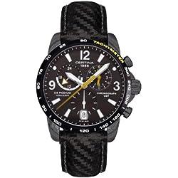 Certina 0 - Reloj de cuarzo para hombre, con correa de cuero, color negro