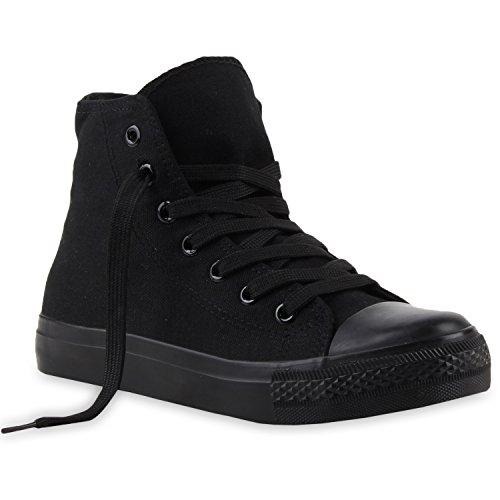 Damen Sneakers Denim Stoff Spitze Sneaker Low Nieten -