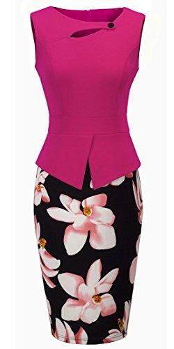 HOMEYEE Robe Élégant Moulante Floral Sans Manches B288 Rose