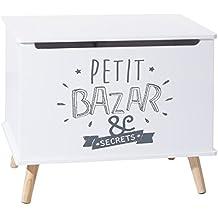 Baúl de almacenamiento de madera para niños - Práctico y Decorativo . Color GRIS y BLANCO