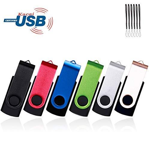 6pezzi usb chiavetta usb 2.0flash drive pollice–metallo nero/rosso/blu/verde/argento/oro multi-coloured 8gb