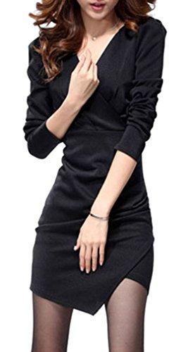 Frauen Sexy V-Ausschnitt Kleid mit unregelm??igen Saum & Lange Puff ?rmel, schwarz -