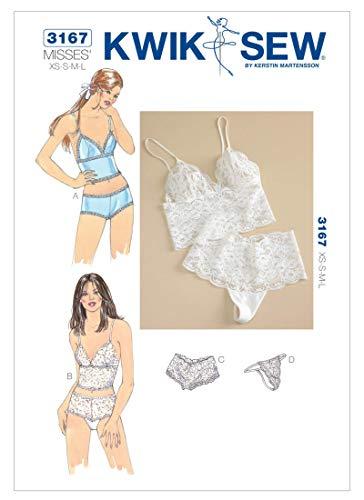 Kwik Sew 3167 - Patrones de costura para confeccionar ropa interior de mujer (tallas XS a L, instrucciones en inglés)
