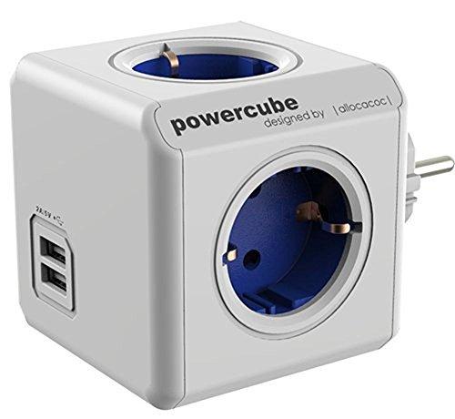 ACRATO allocacoc PowerCube Original USB Mehrfachsteckdosen Dual USB Mehrfachverteiler,4x Verteiler mit 3 in 1 USB Kabel 230V Blau - Ipod Kabel Blau Ladegerät