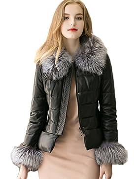 Las Mujeres Elegantes Faux Fur Collar Cremallera PU Chaqueta Outwear Parkas De Invierno Cálido Slim