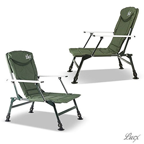 Lucx® 2er Set Angelstuhl / Karpfenstuhl / Fishing Chair / Arm Chair / Stuhl / Campingstuhl / Gartenstuhl 'Eco Plus' (mit Armlehnen)