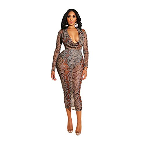ZCG Nachtclub Sexy Underwear Kleidung Women ' S Snake Pattern Mesh Print Dress Nightclub,Brown,L