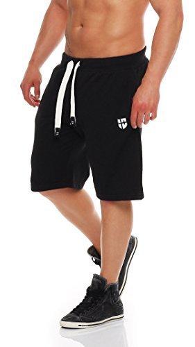 Gennadi Hoppe Herren Sweat Short Cotton Sweat Short Kurze Hose Bermuda Sweatpant Sport Shorts,schwarz/weiß,3XL - Schwarze Sweat