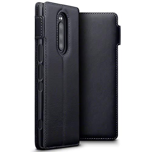 TERRAPIN, Kompatibel mit Sony Xperia 1 Hülle, ECHT Spaltleder Börsen Tasche - Slim Fit - Betrachtungsstand - Kartenschlitze - Schwarz -