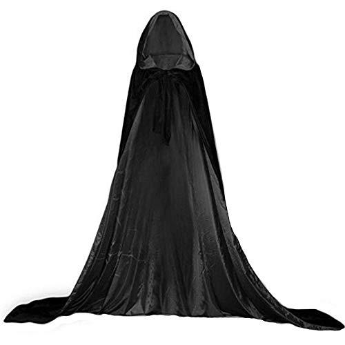 YaoDgFa Unisex Halloween Kostüm Karneval Fasching Costume Umhang Cape Cosplay Kapuze Vampir Zauberer für Damen Herren Erwachsene/Kinder, Schwarz, ()