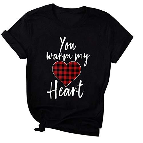 Rifuli Damen Sommer T-Shirt Damen Valentinstag der Frauen wärmen Sie Mein Herz-Kurzschluss-Hülsen-Oberseiten-Blusen-T-Shirt T-Stück Kurzarm Bluse Oberteile Lässige Weste -