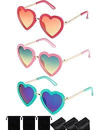 3 Pares de Gafas de Sol en Forma de Corazón Polarizada Retro de Niños para Niñas entre 3-10 Años de Edad con Bolsa de Gafas y Paño de Gafas