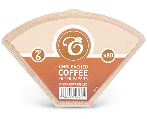 EDESIA ESPRESS - Pack de 80 filtros de papel para café - Tipo cono - sin blanquear - Tamaño 6
